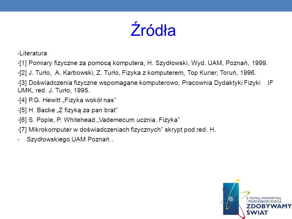 ŹródłaLiteratura. [1] Pomiary fizyczne za pomocą komputera, H. Szydłowski, Wyd. UAM, Poznań, 1999.